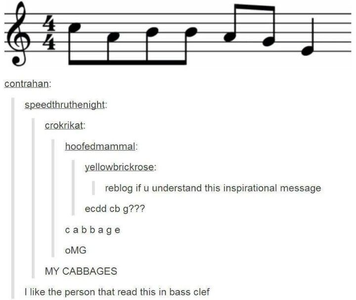 MY CABBAGES MUSIC STYLE! <<< That one person who read it in bass clef XD I'm the type of person to accidentally read bass in treble, to be honest