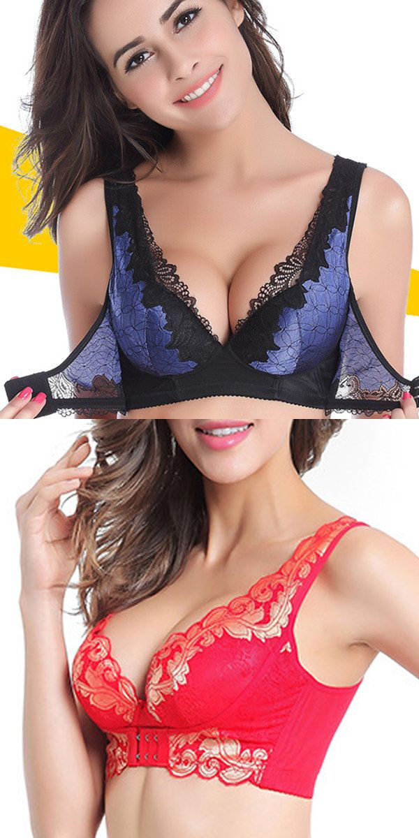US$15.46Front Closure Wireless Deep V Gather Lace Printing Adjustable Push Up Bra