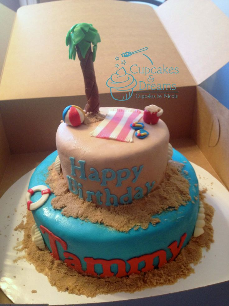 Birthday Cake Ideas Beach : 17 Best images about beach theme cakes on Pinterest Boat ...