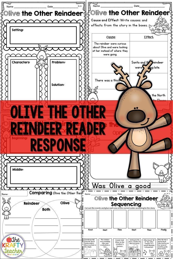 December Reading Comprehension Olive The Other Reindeer Olive