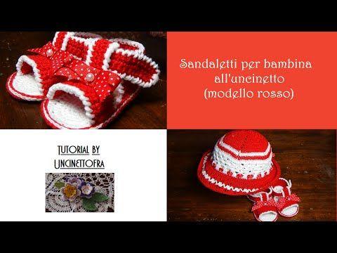 sandaletti per bambina all'uncinetto tutorial (modello rosso) - YouTube