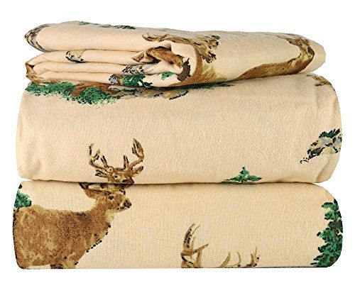100 Cotton Great Quality 3 Piece Flannel Twin Kids Sheet Set in 6 Designs Beige Deer >>> Check out the image by visiting the link.