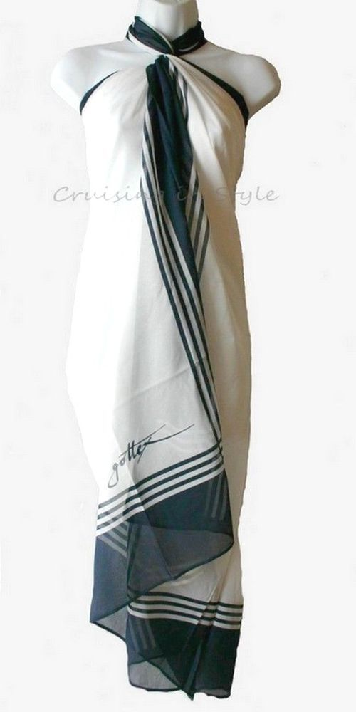 0296f26d556b3 Gottex Swimsuit Cover-up White Navy Signature 100% Silk Sarong Wrap OS NEW  Rare #Gottex #CoverUp