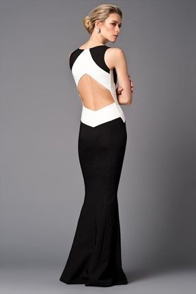 Milla by trendyol X Çağla Şıkel · Gece Koleksiyonu - Siyah Beyaz Blok Elbise -Cocktail Dress,Long Cocktail Dress,Luxury Party Dress #black #white