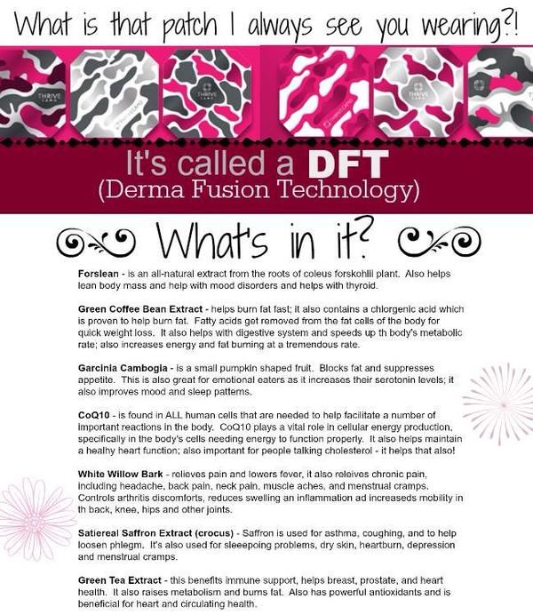 See those crazy people running around with a foam patch on some extremity? Most likely it's a DFT (derma fusion technology). It's the world's FIRST wearable nutrition. Beware: using a DFT may cause you to get up off of your butt and be productive and feel awesome. Unless you like sitting on the couch watching Wendy Williams?