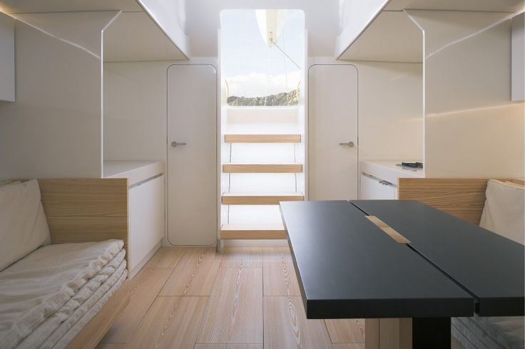 BEST Styling ever! layout has some issues, but finally materials and a color palette that implore the subtle sensibilities, clean and clear, simple and sophisticated - revealing yet gloriously restrained John Pawson B60 Sloop Sail boat interior