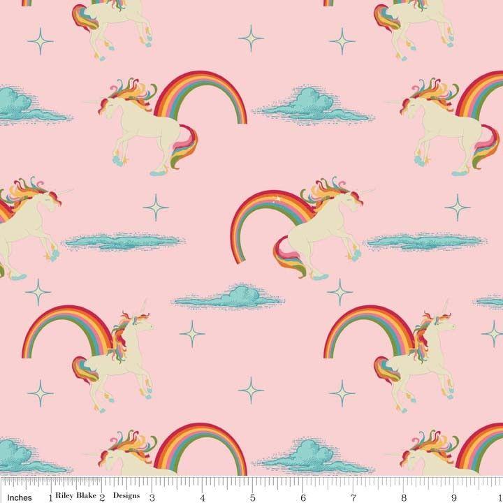 Riley Blake - Unicorns & Rainbows Main Pink - cotton fabric