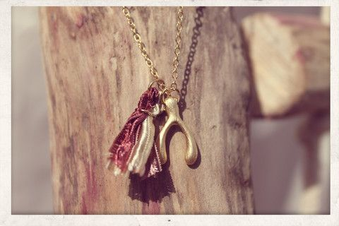 Tassel necklace made with love from 16k gold plated chain, 14k gold plated wish bone charm and silky satin ribbons!