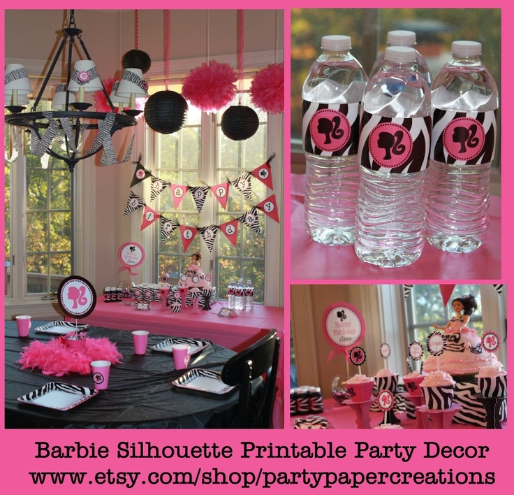 Barbie birthday party decor barbie silhouette party for Decoration barbie