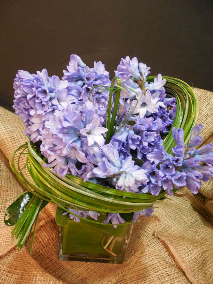 Purple hyacinths all wrapped up (with bear grass) and ready to go!