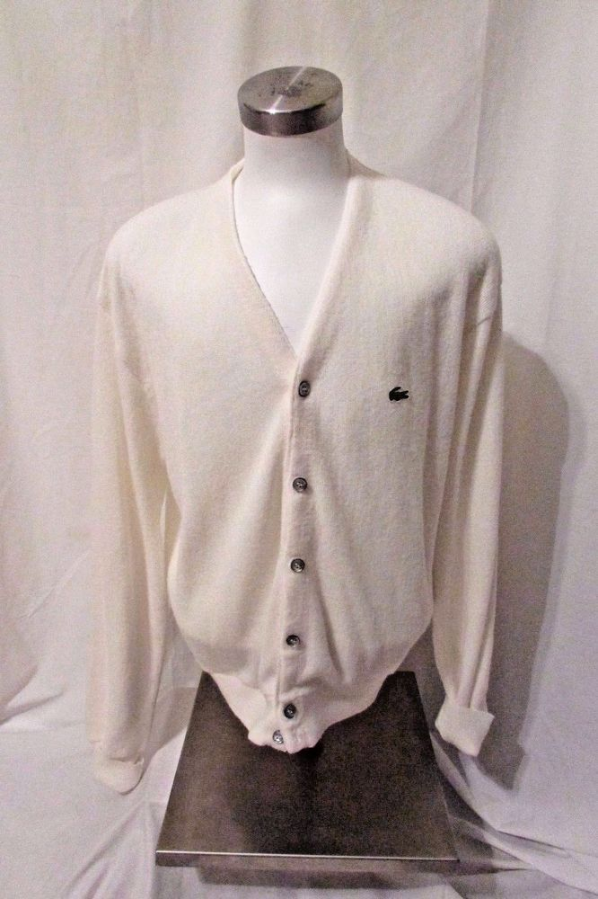 Vintage Lacoste Cardigan Sweater Men's Large Button Front  White Preppy!!! #Lacoste #Cardigan