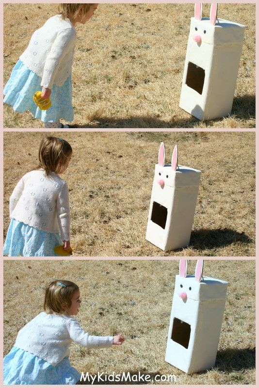 Bunny bean bag toss  hmm maybe I could make a wood box made from wood scraps with different sized holes for a permanent outdoor game....