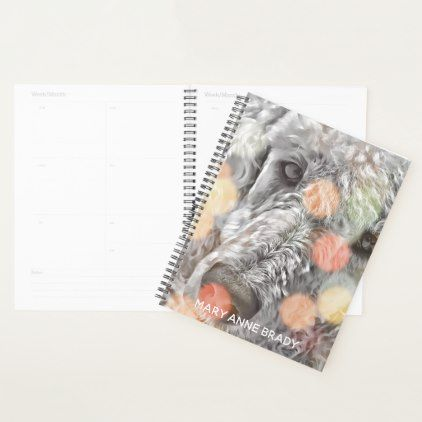 #Grey Poodle Dog Personalized Planner - #office #gifts #giftideas #business
