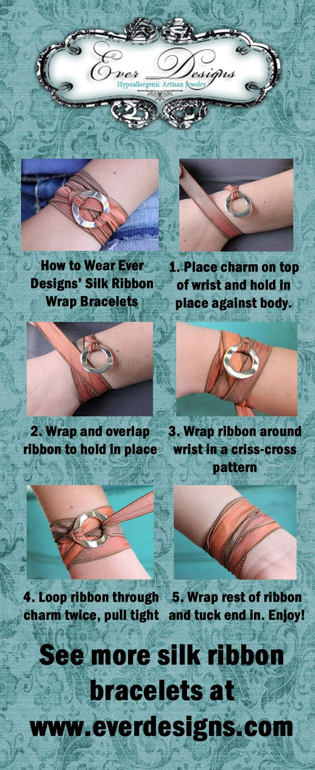 Ever Designs Silk Ribbon Bracelet Tutorial is printed on the back of the card each bracelet is presented on, making these bracelets the perfect gift! Save 25% today with promo code CYMON www.ever-designs.com