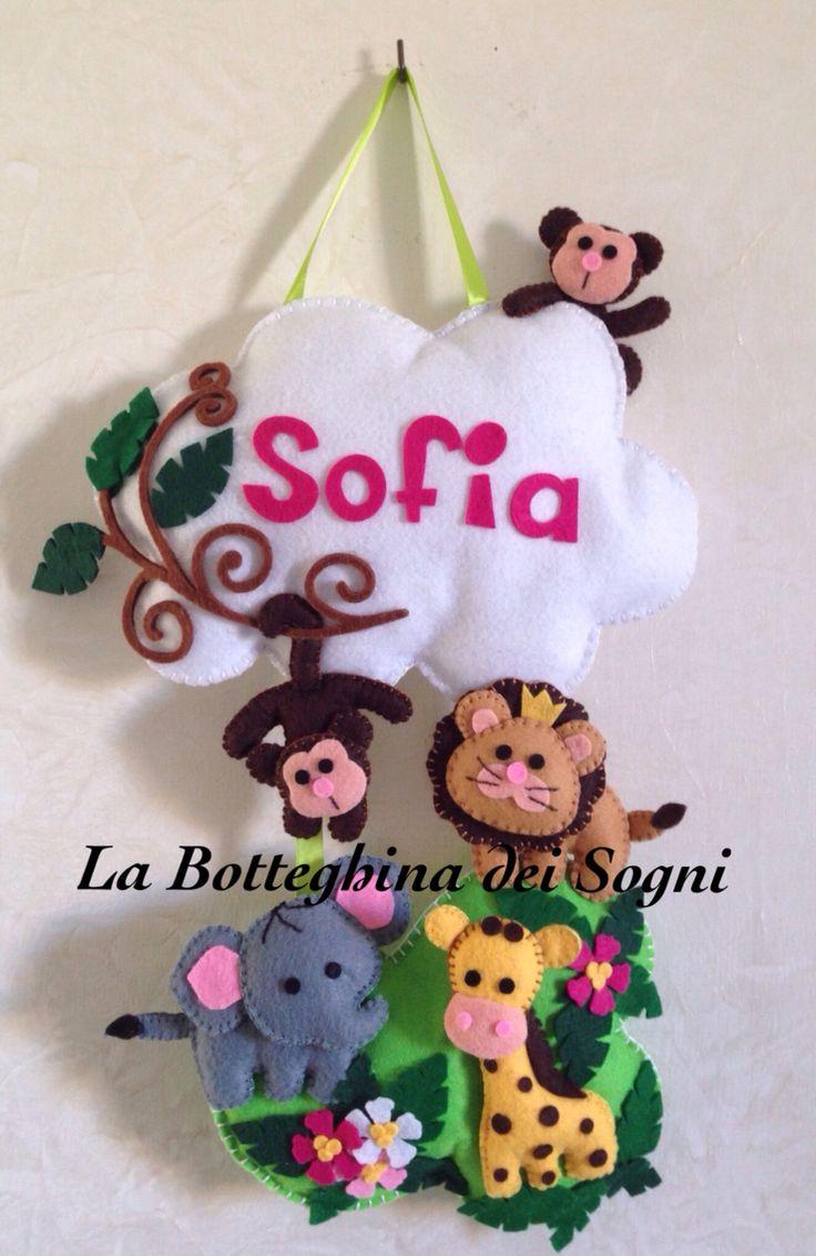 Fiocco nascita in feltro e pannolenci per la piccola Sofia.