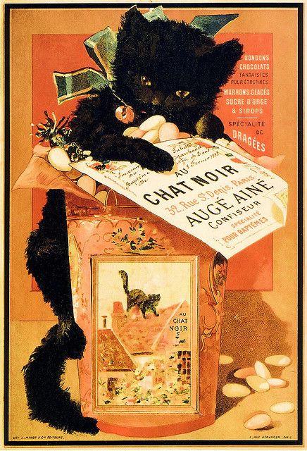 Vintage ad: Confiseur.  ''Au chat noir''