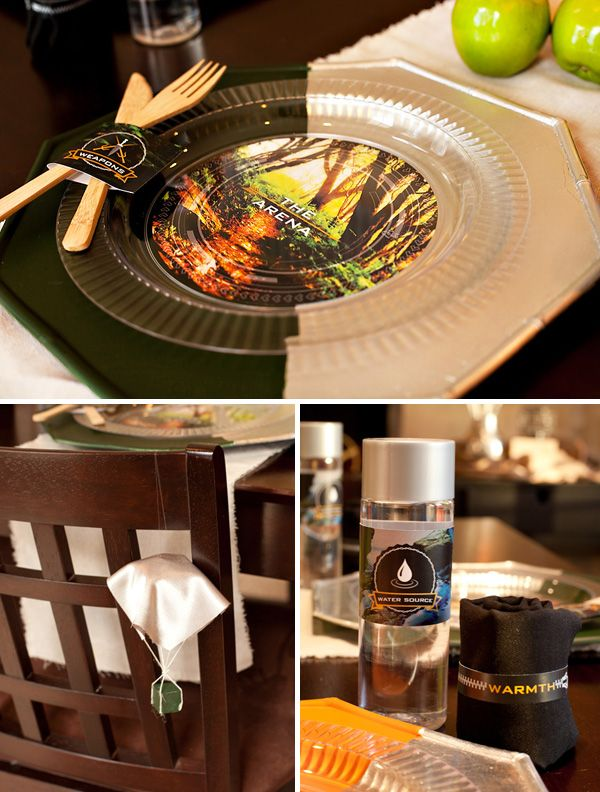 """Love the little parachute table and the """"Weapons"""" tags for the silverware #hungergames #party"""