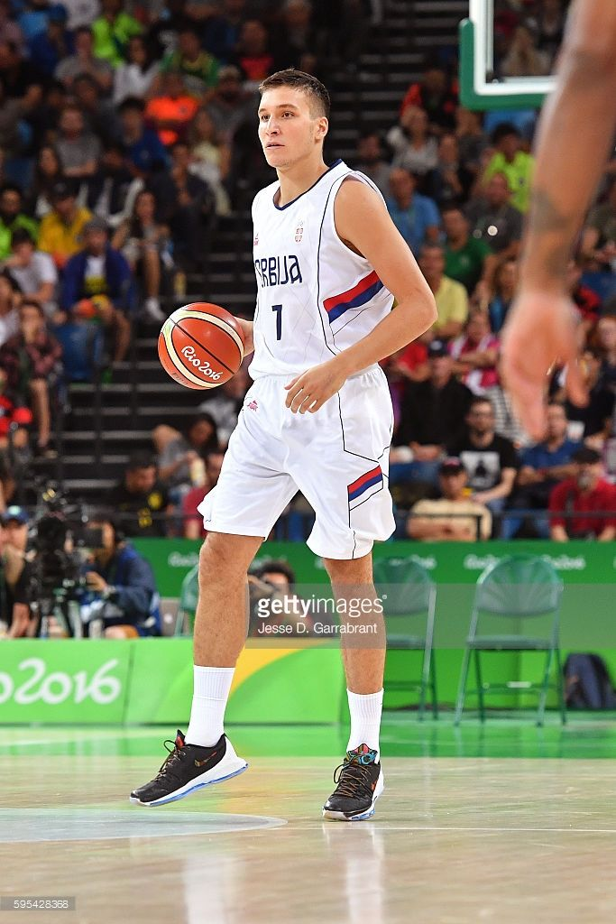 Bogdan Bogdanovic #7 of Serbia handles the ball against the USA Basketball Men's National Team during the Gold Medal Game on Day 16 of the Rio 2016 Olympic Games on August 21, 2016 at Barra Carioca Arena 1 in Rio de Janerio, Brazil.