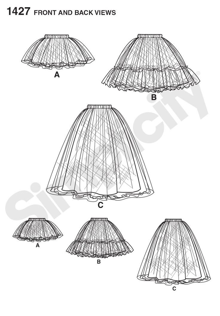 Simplicity 1427 Misses' Tulle Skirt in Three Lengths Line Drawing