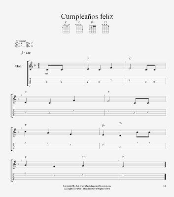 """Cumpleaños Feliz"" Partitura para Ukelele. Nivel Intermedio"