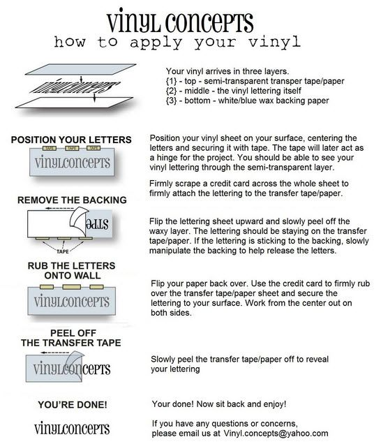 instructions for applying vinyl decal