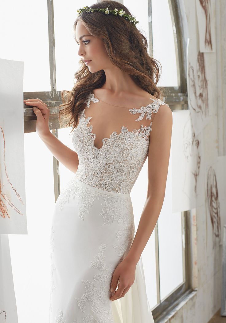 2017 Wedding Dresses and Bridal Gowns by Morilee by Madeline Gardner. This Sheath Bridal Gown has Lace AppliquéŽs, Detachable Train and Illusion Neckline.