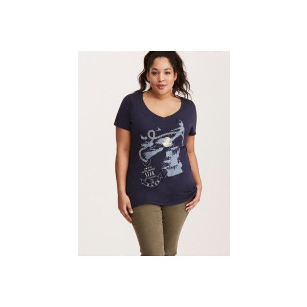 Torrid Disney Neverland Second Star V-Neck Tee ($24) ❤ liked on Polyvore featuring tops, t-shirts, plus size graphic t shirts, plus size tops, v neck graphic tees, graphic t shirts and plus size v neck tees