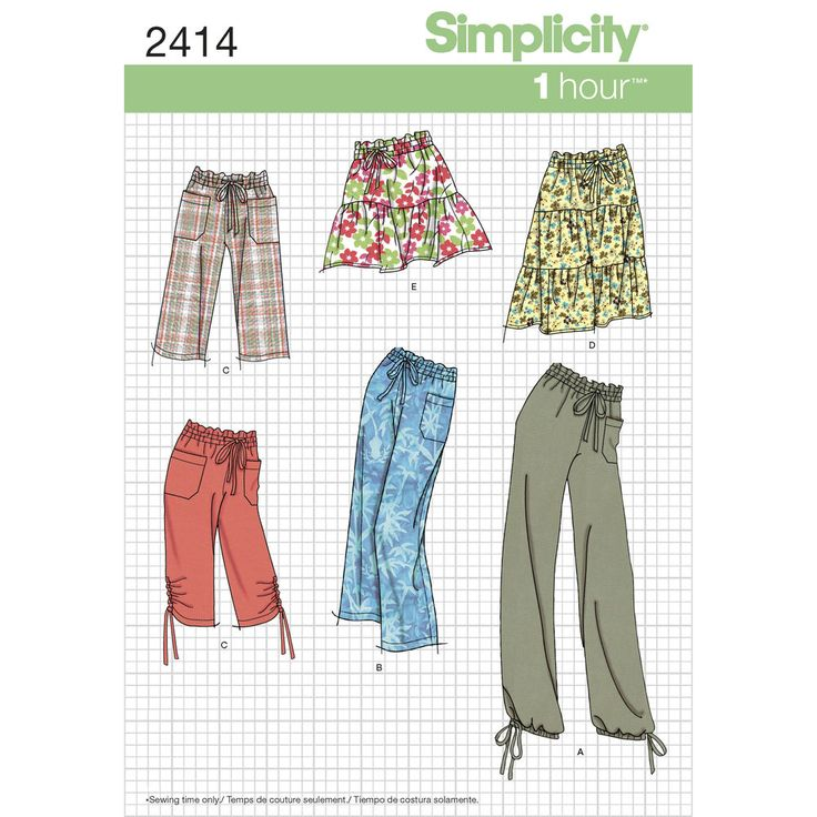 You're going to love this pattern with 1-hour sewing time (per garment)—includes pants in a variety of lengths and tiered skirt in two lengths. Simplicity sewing pattern.
