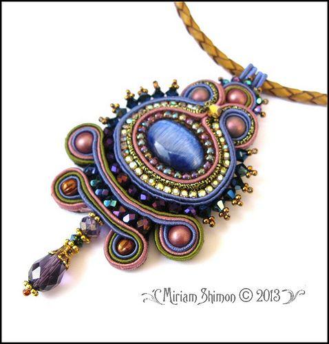 Purple+Soutache+Pendant by Cielo Design