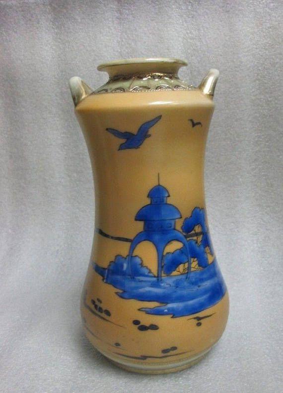 Imperial Nippon Vase Scenic W Royal Blue Japanese Landscape Signed