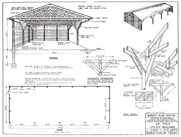 free pole barn plans with material list