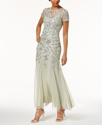 b460828daad Adrianna Papell Floral-Beaded Gown