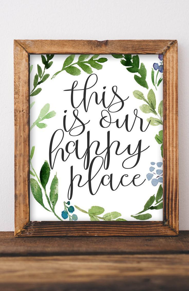 Printable wall art, This is our happy place, Farmhouse decor, Printables, Home decor Rustic decor Printable Art Entryway, Housewarming Gift