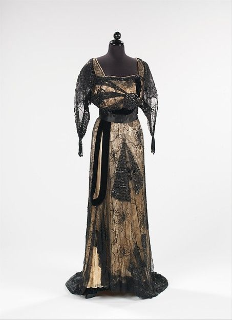 Evening dress  Design House:Callot Soeurs (French, active 1895–1937) Designer:Madame Marie Gerber (French) Date:1913 Culture:French Medium:silk, jet Dimensions:Length at CB: 65 in. (165.1 cm) Credit Line:Brooklyn Museum Costume Collection at The Metropolitan Museum of Art, Gift of the Brooklyn Museum, 2009; Gift of the Estate of Mrs. William H. Crocker, 1954 Accession Number:2009.300.1194
