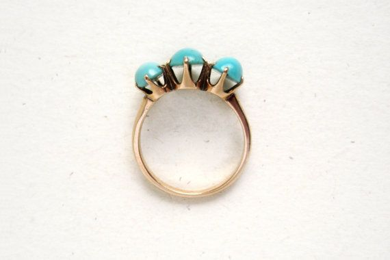 Antique Victorian Three-Stone Turquoise Ring in 9k by springthaw