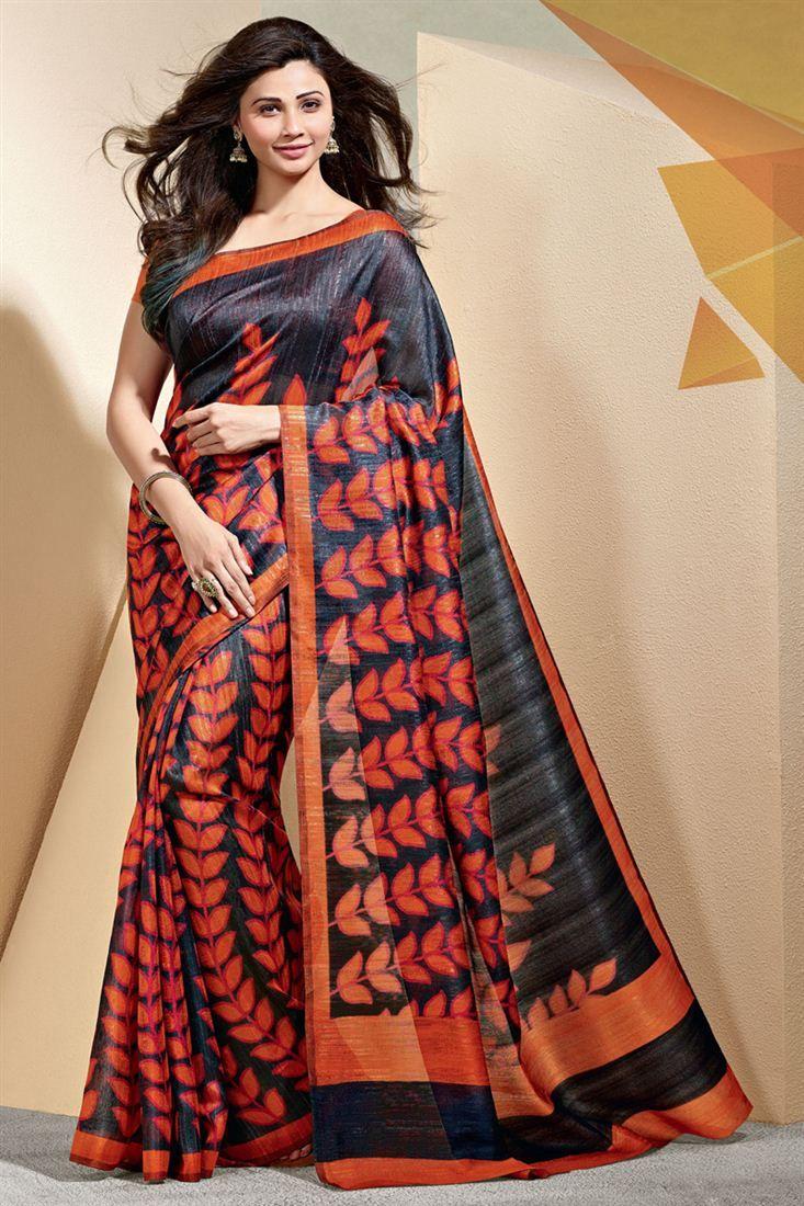 Daisy Shah Printed Party Wear Art Silk Saree