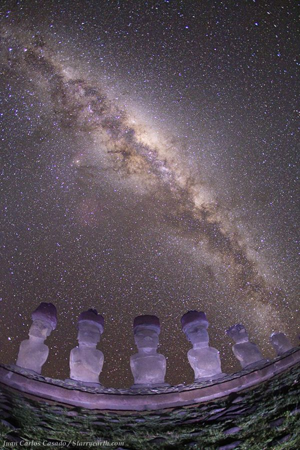 Stunning view of Milky Way as seen from the Easter Island in the south Pacific Ocean. Its a bizarre experience to stand besides the giant statues of the island. They are locally called Moais and date back to 13th to 15th century from the lost ancient civilization of this isolated island.