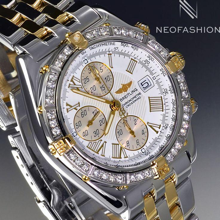 BREITLING CROSSWIND 18K GOLD/SS 1.2CT DIAMOND BEZEL WHITE DIAL MENS WATCH B13355 #Breitling #Luxury