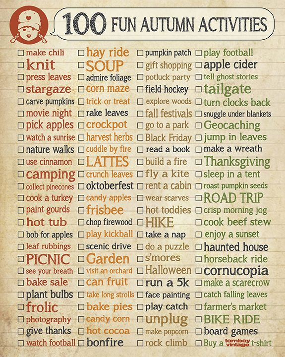 Autumn fun, bucket list, checklist, fun ideas for Fall, tailgate, jump in leaves, corn maze, carve pumpkins, haunted house...