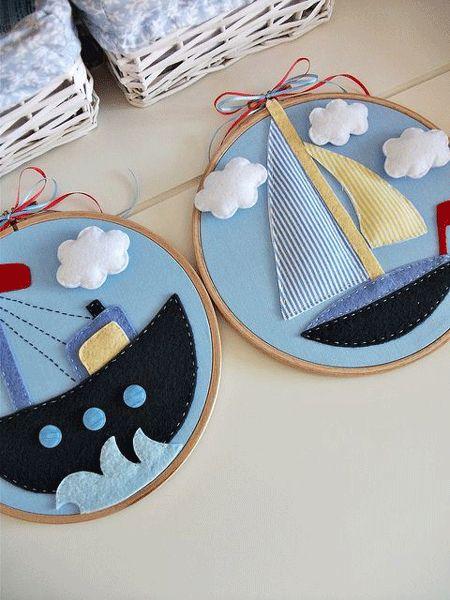Aros de bordado como marco para trabajos de fieltro y tela #decoracion #arosdebordado #decoration #embroideryhoops