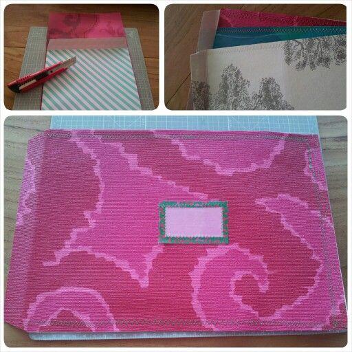 C4 envelopes of wallpaper. C4 enveloppen van behangpapier.  Neem een envelop als voorbeeld voor de maat, snij het behang op maat en naai de open kanten dicht(behalve de sluiting natuurlijk)