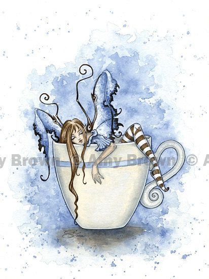I Need COFFEE FAIRY 8.5x11 PRINT by Amy Brown, $14.00. My sister and I used to collect Amy Brown art and figurines!