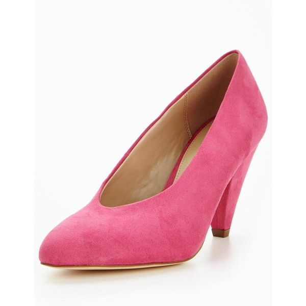 V By Very Dolly High Vamp Mid Heel Court Shoe ($43) ❤ liked on Polyvore featuring shoes, pumps, pink shoes, mid-heel pumps, pointed shoes, pink pointy pumps and pink mid heel shoes