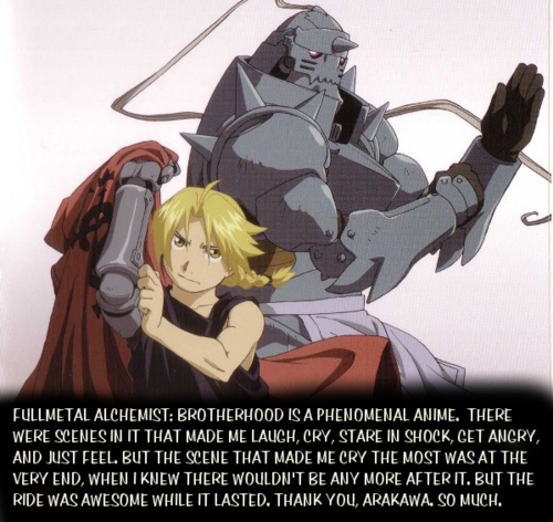 Fullmetal Alchemist: Brotherhood <3 I cried reading this! Fullmetal Alchemist is my life