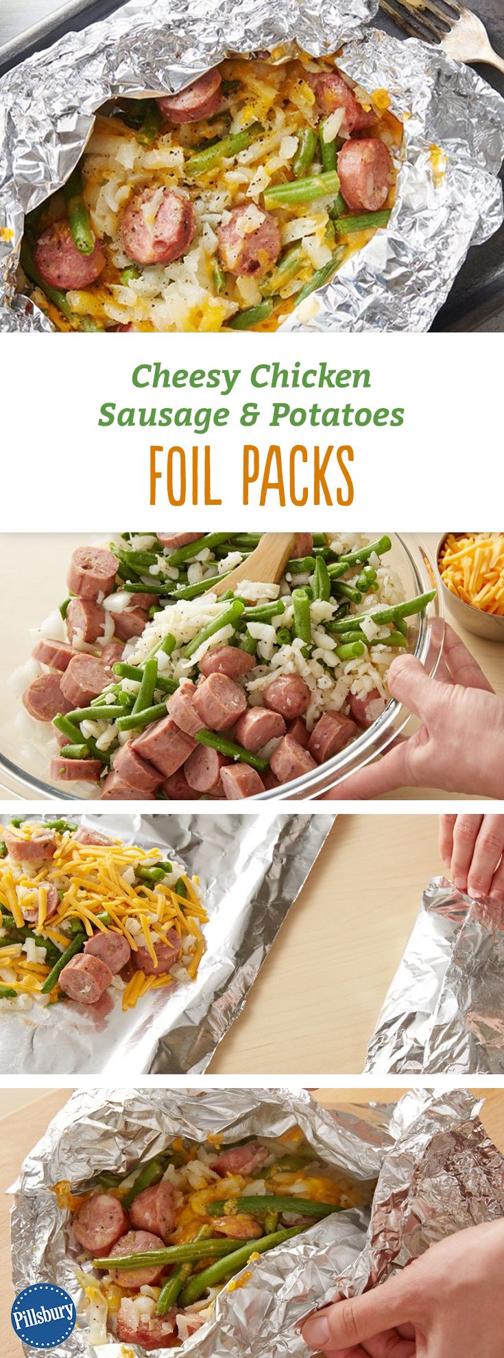 These foil packs loaded with chicken-apple sausage, potatoes and green beans are sure to become a summertime family favorite.