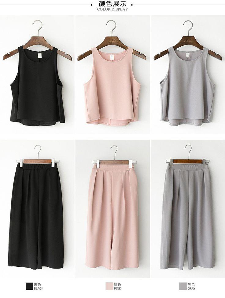 Korean Fashion - Round neck vest + Wide pants suit - AddOneClothing - 6