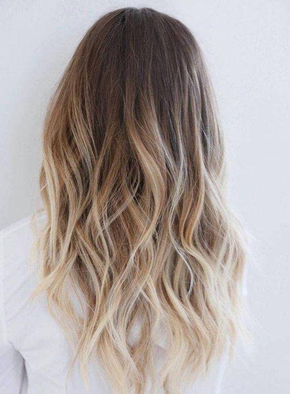 Full Head Dip Dye Clip In Human Hair Extensions Ombre 6 Pcs Medium