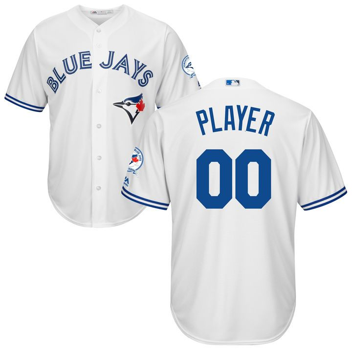 Men's Toronto Blue Jays Majestic White Cool Base 40th Anniversary Patch Jersey
