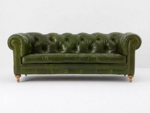 Leather Bonded Sofas: Green Leather Couch