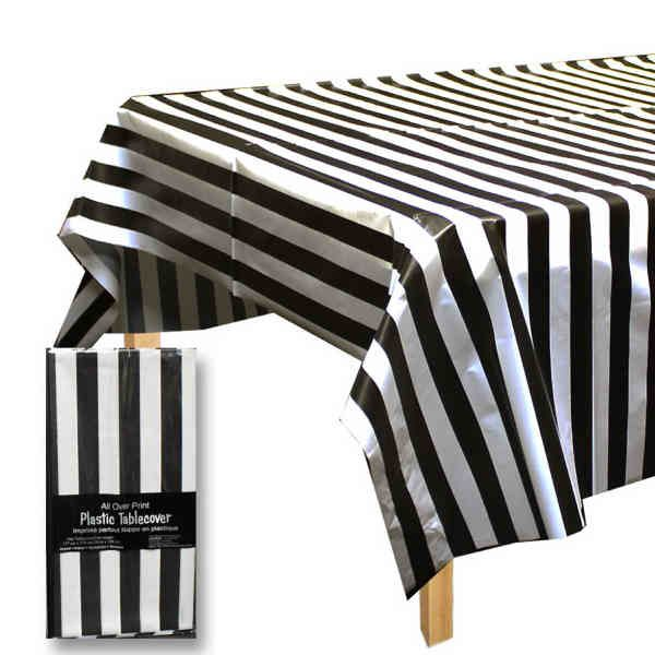 Black And White Plastic Tablecloth Bridal Events